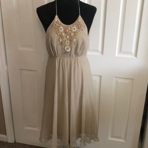 Milly Taupe Gauzy Beaded Embellished Halter Dress